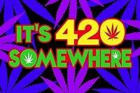 Steez Its 420Somewhereマリファナ雑草ドープGrass Ganja Aunt Mary Jane Bud Blacklightポスター23x 35
