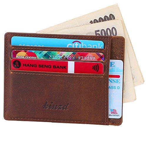 Kinzd® 小さい財布多カードポケット メンズ薄型本革財布 カードと紙幣収納 RFIDブロッキング (カーキ)