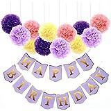 Buddykit 誕生日 飾り付け 女の子 パープル ミックスカラー ペーパーポンポン ペーパーフラワー カラー セット パープル ピンク イエロー バースデー デコレーション お祝い パーティー 飾る 綺麗 ホームパーティー 装飾 P0011