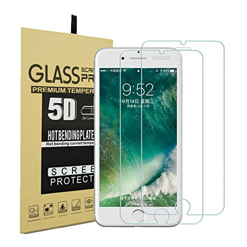 AUXIN™,iPhone 8/7 /6 Screen Protector [4.7-in], Premium Transparent Tempered Glass with 9H Hardness [2.5D Edge] [2-Pcs],Easy to Install,Bubble-Free