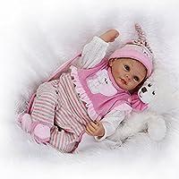 Nicery 人形 Babyリボーンベビードールソフトシリコンビニール22インチの55センチメートル磁気口リアルな少年少女の玩具ピンクホワイト動物 Reborn Dolls JP