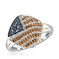JewelExcess 1/3CTWマルチカラーダイヤモンドスターリングシルバーアメリカ国旗リング