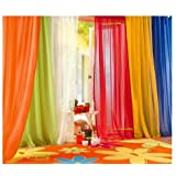 6 Piece Rainbow Sheer Window Panel Curtain Set Blow Out Pprice Special Lime, Orange, Red, White, Bright Yellow, Navy