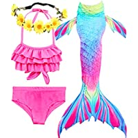 iGeeKid Garlagy 3 Pcs Girls Swimsuit Mermaid for Swimming Bikini Set Swimmable Costume for 3-14Y (3T-4T/Ht:42-44in(tag 110), A-a Warm red)