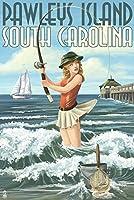 Pawleys Island , South Carolina–サーフ釣りPinup Girl 9 x 12 Art Print LANT-36813-9x12