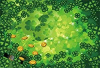 CSFOTO バックグラウンド ハッピーセントパトリックデー レプリカチューン クローバー ビールゴールドコイン 写真背景 グリーングッドラックプラント シャムロック マジック ホリデー 伝統的なお祝い フォトスタジオ 小道具 壁紙