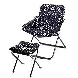 Zhouzhou ポータブル折りたたみ怠惰な椅子、リクライニングチェアチェアソファホームオフィス瞑想読書テレビ視聴、赤 (Color : Blackstars2)