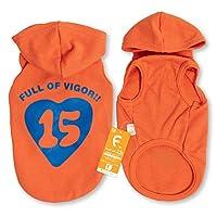 犬猫の服 full of vigor フニャンハート15プリント裏毛パーカー ダックス用 カラー 18 オレンジ サイズ DMLパーカー つなぎ オールインワン フルオブビガー