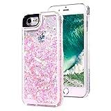 スーパー保護カメラTPU柔らかいながら透明な液体硬い殻に適応してPC面プラスチック携帯iphone7、完璧な液体ピカピカの砂に浮動輝くモバイル愛スパンコール-JAZ (iphone7, ピンク)