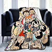 Cute Haikyuu 大人の子供のフランネル毛布は、抗菌性および消臭性を防ぐために、柔らかくまたは柔らかく、軽量で洗える静電気です
