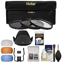 Vivitar 3ピースコーティングHDフィルタセット( 55mm UV / CPL / nd8) withレンズフード+吹き出し口+アクセサリキット