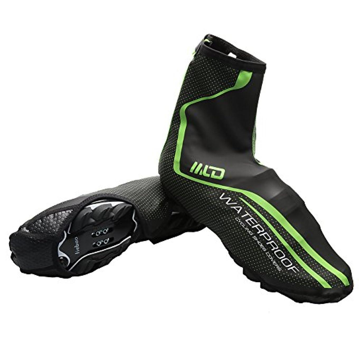 不承認ミントキノコWest Biking防水雨防風靴カバーメンズサイクリングブーツフラットOvershoesギア滑り止め(サイズM - L、レッドグリーン)