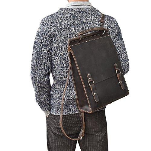 Luufan (ルーファン) リュックサック レディース 本革 オイルレザー A4サイズ 光沢牛革 2way バッグパック メンズ 手提げ鞄 通勤 通学 自立可 男女兼用 人気鞄 (ダークブラウン)