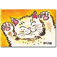 猫の足あと ポストカード 「ワーイ」