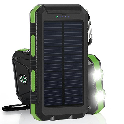 GRDE 10,000mAh 大容量ソーラーチャージャー モバイルバッテリー 2USBポート