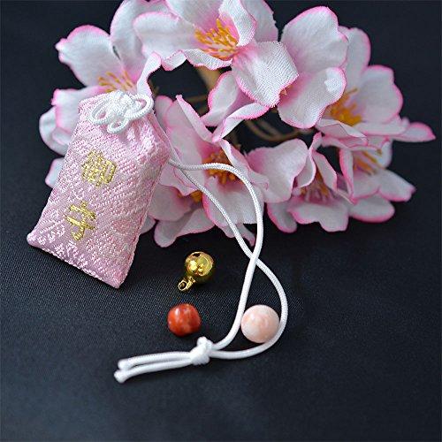 お産には珊瑚のお守り! 【産後の肥立ちが良いように】 桃色珊瑚珠 (お守り袋 ピンク色)
