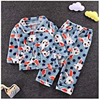 LUKEEXIN Children's Flannel Pajamas Baby Boys Girls Thick Cute Soft Sleepwear Sets