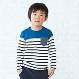 (サンカンシオン) 3can4on ポケット付きパネルボーダープルオーバー 58612110 12(120cm) ブルー(392)