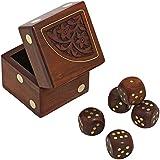 [シャリーンインディア]ShalinIndia Handmade Indian Dice Game Set with Decorative Storage Box Includes 5 Wooden Dice Unique Gifts for Adults [並行輸入品]