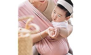コニー ぐっすり 抱っこひも シンプル ビップシート ベビーキャリア スリング シンプル 軽い 軽量 コンパクト お出かけ 楽な 簡単 安全 抱っこ紐 (ピンク) (L)