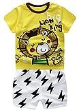 Plus Nao(プラスナオ) 子供用 パジャマ ルームウエア 上下セット 半袖×半ズボン イラストプリント 可愛い 肩ボタン ラウンドネック 男の子