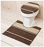 ショコラ  洋式トイレ2点セット (足元マット+フタカバー) 普通タイプ ブラウン