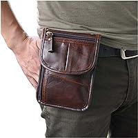 Le'aokuu Mens Genuine Leather Mini Messenger Shoulder Bag Pouch Hook Waist Bag Pack (Coffee 2) [並行輸入品]