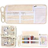 Damero キャンバス お手頃かぎ針収納ケース かぎ針編みのアクセサリーポーチ クラフトツール収納ポケット プレゼント(針が含まない)可愛い猫