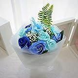BIO ミディローズブーケ フレグランスソープフラワー ローズ9輪 定番商品 クリアバック・ギフトボックス付 お祝い 記念日 お見舞い バレンタインデー ホワイトデー 母の日   (ブルー)