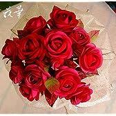 特別な日に贈る(プレゼント)・お多福薔薇の花束(ブーケ)(布花・染め花・アートフラワー)