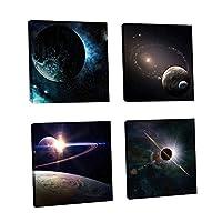 PETSOLA 壁パネル フレームなし 4つのパネル 壁画 部屋 装飾 防水 絵画 防湿 高精細 - 惑星