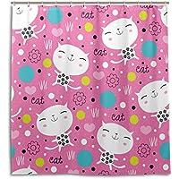 マキク(MAKIKU) シャワーカーテン 防カビ おしゃれ リング付属 かわいい 猫柄 ピンク バスカーテン 防炎 環境にやさしい 目隠し洗面所 間仕切り 取付簡単 165x180