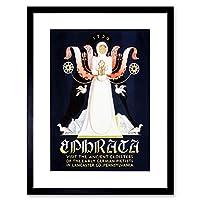 Travel Ephrata Pennsylvania German Colony Angel Vintage Framed Wall Art Print 旅行ドイツ人ビンテージ壁