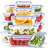 C CREST [15-Pack] Glass Containers for Food Storage with Lids, Meal Prep Containers for Kitchen, Home Use, Lunch Container with Easy Snap, Airtight and Leakproof Lid