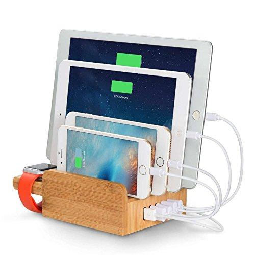 lvshan竹製5ポートUSB充電スタンド(CS007)、竹製充電スタンド、2.4A急速充電、充電器、収納型充電スタンド、iPhone、Android、Apple Watch充電スタンド、木製チャージャーステーション