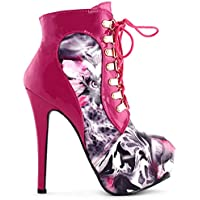Show Story Black/Pink/Purple Lace Up Stiletto Heel Gothic Ankle Boots,LF80831
