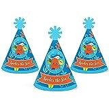 Bigドットの幸せのunder the sea critters – Mini円錐誕生日パーティーベビーシャワーまたは帽子 – スモールLittle Party Hats – 10のセット
