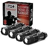 PeakPlus Lfx100 Mini Flashlights [4 Pack] - Edc Flashlight With Belt Clip, Zoom, Strobe - Bright Pocket Tac Light Tactical Flashlights For Kids, Emergency, Camping