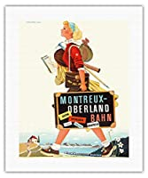 モントルー・オーバーラント鉄道 - スイス - ベルナー・オーバーラント鉄道 - ビンテージな鉄道旅行のポスター によって作成された ハーバート・ルーピン c.1940s - キャンバスアート - 41cm x 51cm キャンバスアート(ロール)