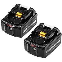DOSCTT 互換マキタ18vバッテリー マキタバッテリー BL1860B互換バッテリー 6.0Ah 2個セットLED残量表示 BL1830 BL1860 BL1860B対応バッテリー 無料交換可能