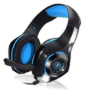 BlueFire 3.5mm PS4ヘッドセット PC LEDライト ゲーミングヘッドホン 重低音 ステレオ ヘッドセット イヤホン ヘッドバンド Micマイクロホン付 SONY PS4/iPhone/コンピューター/ラップトップに対応 音量調整(青)