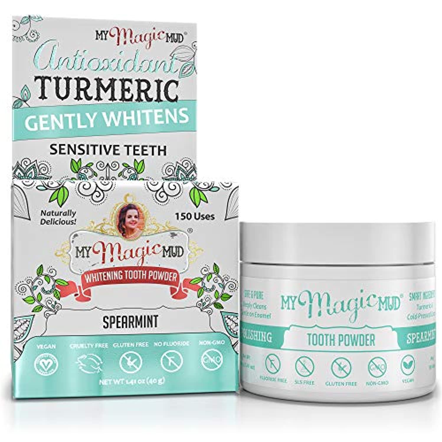 幻影ぶら下がる違うMy Magic Mud Turmeric Whitening Tooth Powder - Spearmint 40g/1.41oz並行輸入品
