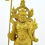 木彫り仏像 彫刻 【小仏】毘沙門天像(四天王之多聞天) 柘植金泥付き 総高12.5cm
