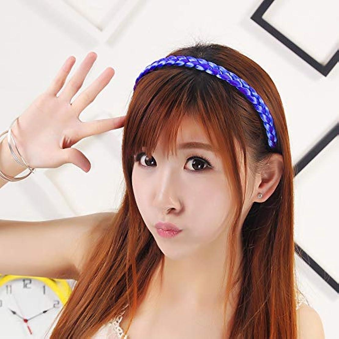 群がるぴかぴか版Hairpinheair YHMウィッグツイストブレイドジュエリーカチューシャヘアバックル(ブラック) (色 : Sapphire Blue)