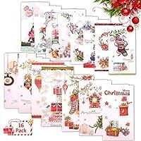 メッセージカード 封筒付き グリーティングカード 誕生日 感謝カード ギフトカード おしゃれ 16枚 ランダムスタイル shengo (クリスマススタイル 12 * 21.7cm)