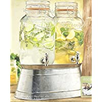 Palais Glassware High Quality Clear Glass Beverage Twin Dispenser with Bail & Trigger Locking Lid - 3.68 Quart Each, with Ice Bucket Base by Palais Glassware