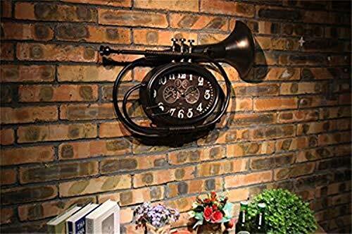 表 楽器の鉄の個性レトロな寸法バーカフェレストランラウンジの寝室の壁の装飾壁時計
