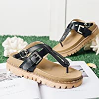 ZHIRONG 女性のクリップつま先厚い底の夏のサンダルローマ様式高品質PUの学生の靴のビーチの靴スリッパ調節可能なバックル (色 : ブラック, サイズ さいず : EU38/UK5.5/CN38)