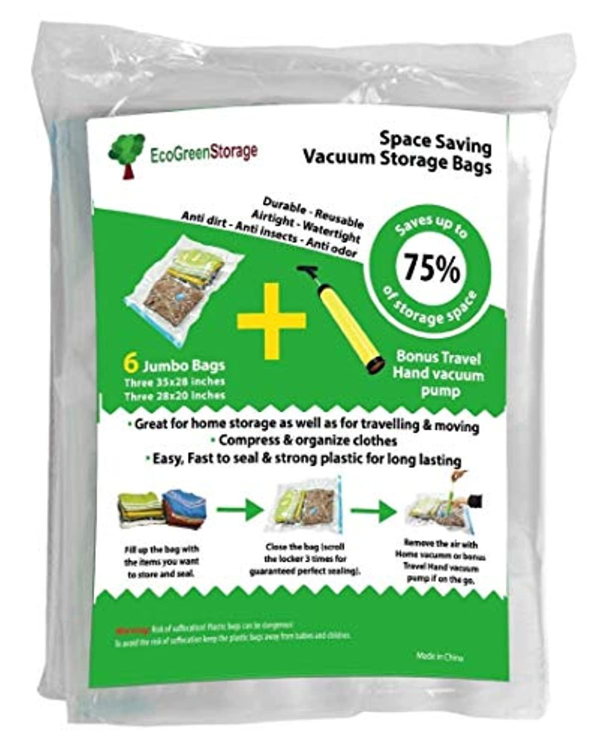 Jumbo Vacuum Space saver Storage bags. [BONUS] Free travel Vacuum hand pump. Jumbo size, excellent for long term storage or saving extra space while travelling. Pack of 6 By Ecogreen Storage