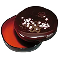 紀州塗り 6寸 桜菓子器 溜 花結び